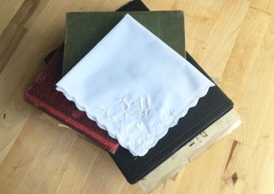 s+n Wedding Handkerchief with date